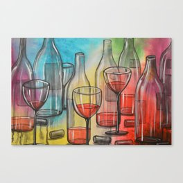 Abstract wine art / Friday Night Canvas Print