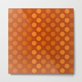 """Orange Burlap Texture & Polka Dots"" Metal Print"