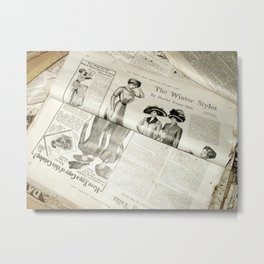 Old Vintage Newspaper Left to the Elements...Winter Styles Metal Print