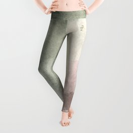 Abstract blush pink green white watercolor brushstrokes Leggings