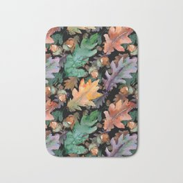 Colorful Woodland Watercolor Oak And Acorn Pattern Bath Mat