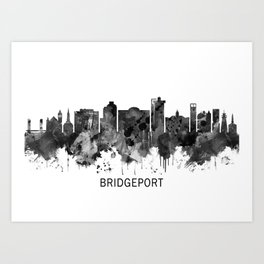 Bridgeport Connecticut Skyline BW Art Print