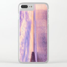 Solace by Sunset Cayucos pier and beach Clear iPhone Case