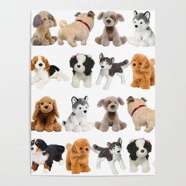 Fluffy Puppy Dog Kids Pattern Poster