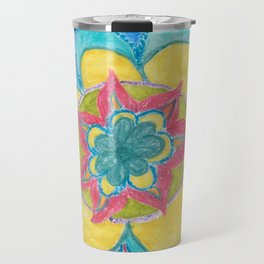 Joy - flower mandala with rainbow Travel Mug