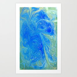 Blue & Green Watercolor Art Print