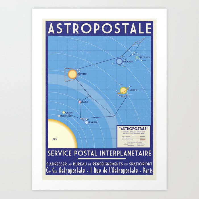 ASTROPOSTALE - Solar System Map Art Print