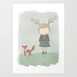 Deer Girl And Fox Art Print