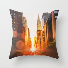 NYC Skyline Sunset Throw Pillow