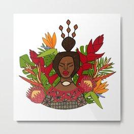 UrbanNesian Floral Tongan Queen Metal Print