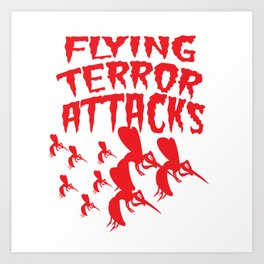 Mosquito Insect Comic Flying Terror Funny Blood Sucker Gift idea Art Print