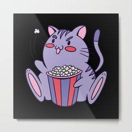 Popcorn cat funny fat drawn cat eating popcorn Metal Print
