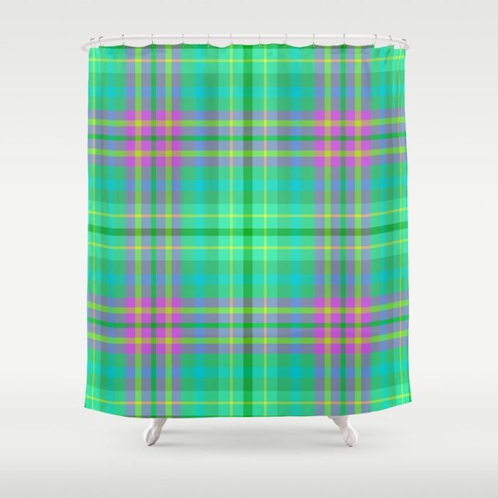 Bird Of Paradise Madras Plaid Print Shower Curtain