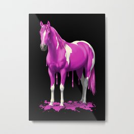 Hot Pink Dripping Wet Paint Horse Metal Print