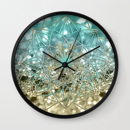 Star Mandala on Lemon Twist Beach Glitter #4 #shiny #decor #art #society6 Wall Clock