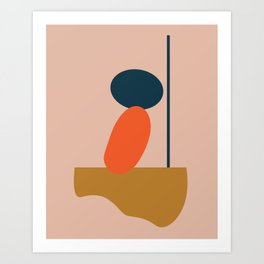 Abstract #1 Orange Blue Beige Art Print