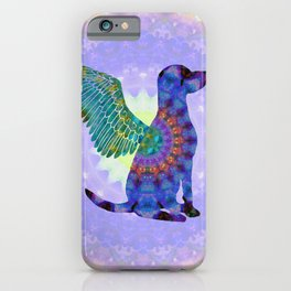 All Dogs Go To Heaven - Purple and Green Colorful Mandala Art - Sharon Cummings iPhone Case