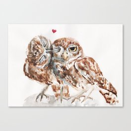 Owls in love Canvas Print