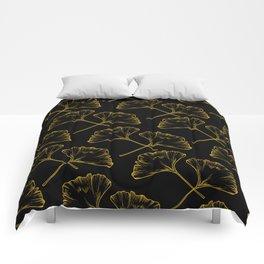 Gold on Black Ginkgo Comforters