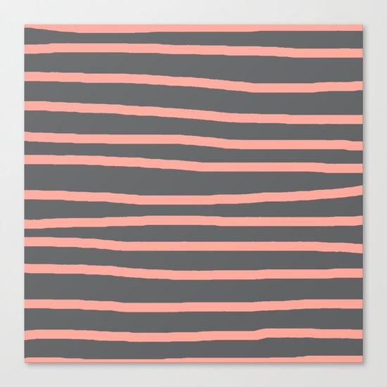 Simply Drawn Stripes Salmon Pink on Storm Gray Canvas Print