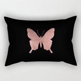 Elegant trendy black faux rose gold butterfly Rectangular Pillow