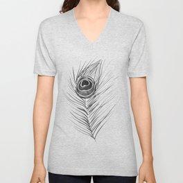 Peacock Feather – Black Palette Unisex V-Neck