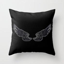 Black Angel Wings Throw Pillow