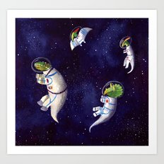 Dino's in Space Art Print