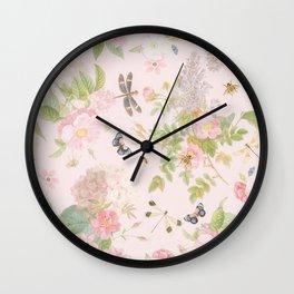 Vintage Summer Blush Botanical Flower Roses Garden Wall Clock