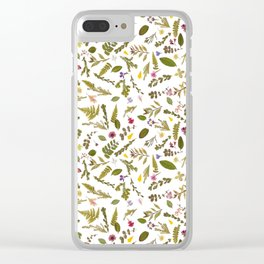 Greenery Floral Pressed Flowers Clear iPhone Case