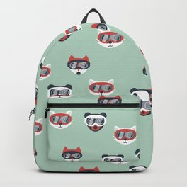 Christmas woodland animals in goggles fox bear and cats kids winter pattern mint Backpack