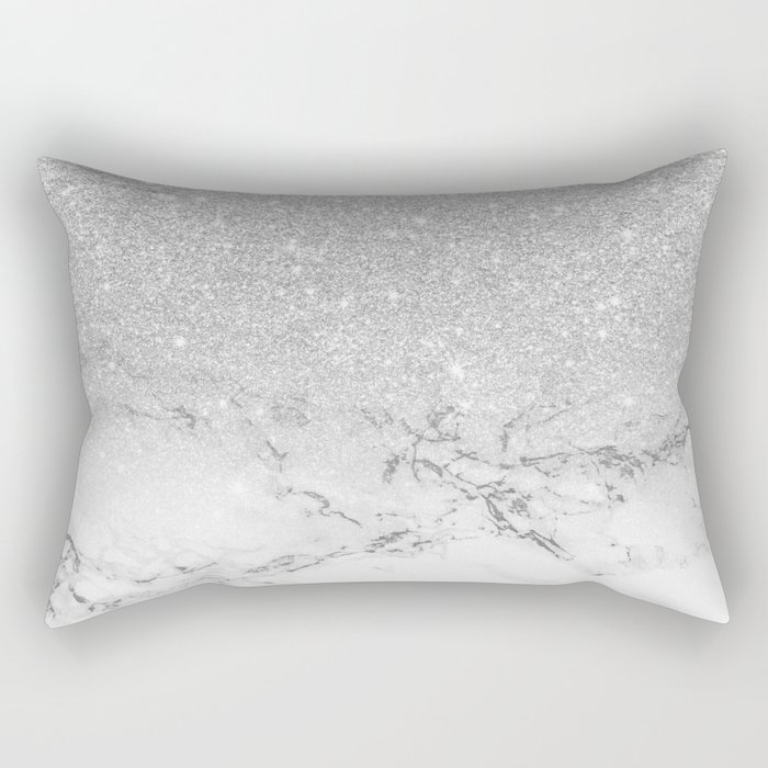 Modern faux grey silver glitter ombre white marble Rectangular Pillow