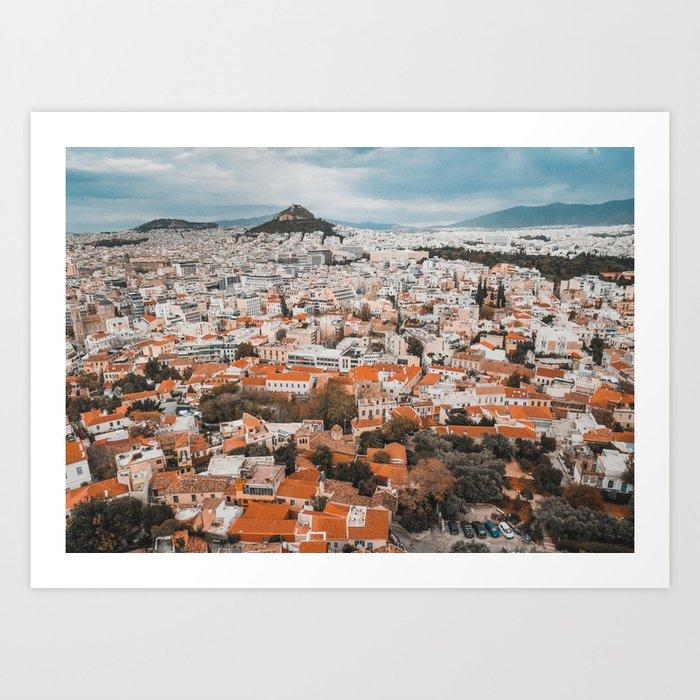View of Acropolis in Athens Fine Art Print Art Print