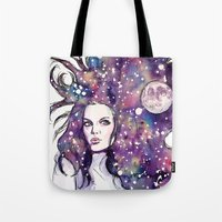 the moon Tote Bags featuring moon by Beth Jorgensen