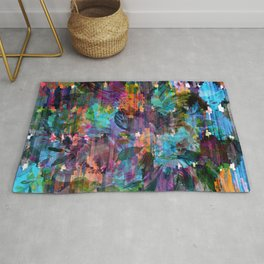 Colorful messy flowers collage Rug