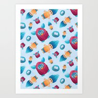 90s Art Prints featuring Sweet 90s by Ana Makes Art