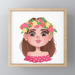 The Head of a Slavic Girl Framed Mini Art Print