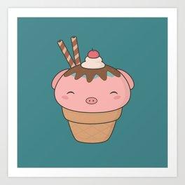 Kawaii Cute Pig Ice Cream Cone Art Print