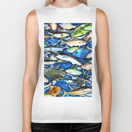 DEEP SALTWATER FISHING COLLAGE Biker Tank