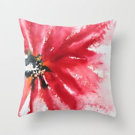 Crimson Red Abstract Flower Watercolor Throw Pillow