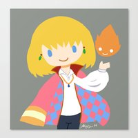 calcifer Canvas Prints featuring Howl and Calcifer by Mayying