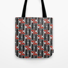 Rock and Roll_ Red and White Guitar Tote Bag