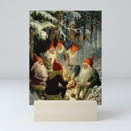 """""""Campfire Cooking"""" Tomten by Jenny Nystrom Mini Art Print"""