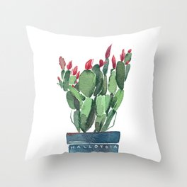 Watercolor Cactus Throw Pillow