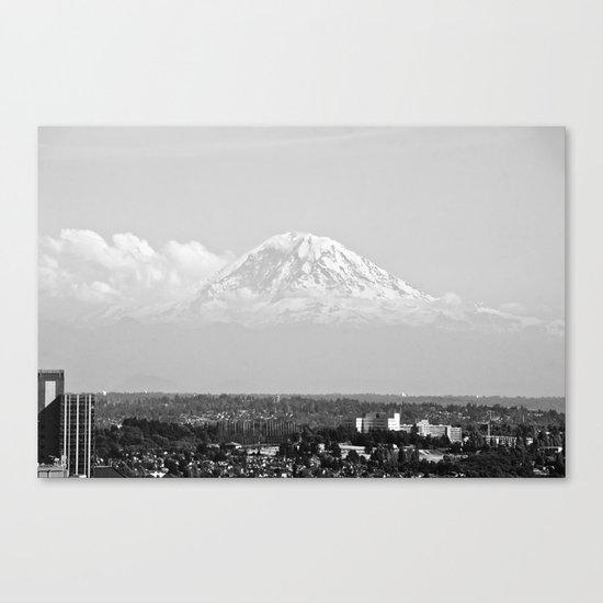 Hovering Mt Rainier in Mono Canvas Print