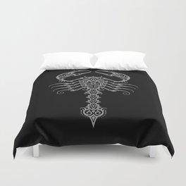 Gray and Black Aggressive Tribal Scorpion Duvet Cover