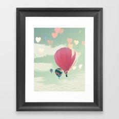 Hot air balloon nursery and heart bokeh on pale blue Framed Art Print