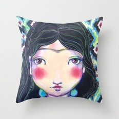 YOUNG FRIDA WITH NECKLACE Throw Pillow