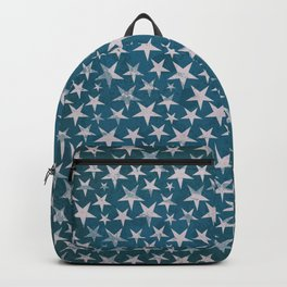 White stars on grunge textured blue background Backpack
