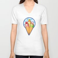 ice cream V-neck T-shirts featuring Ice cream by LaDa